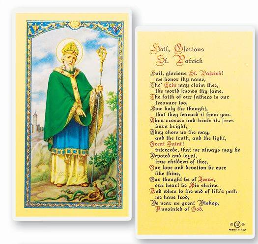 Hail Glorious St. Patrick Laminated Holy Card