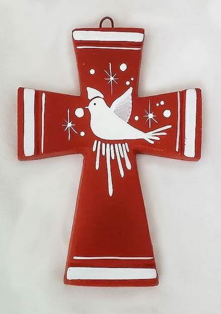 Hand Painted Dove of Peace Clay Cross from Mexico