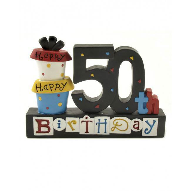 Happy 50th Birthday Block with Present