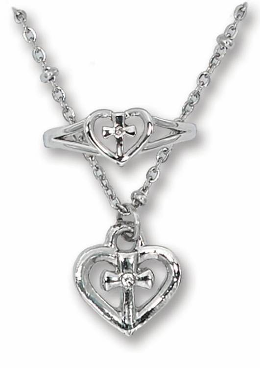 Heart Cross Necklace and Ring Set