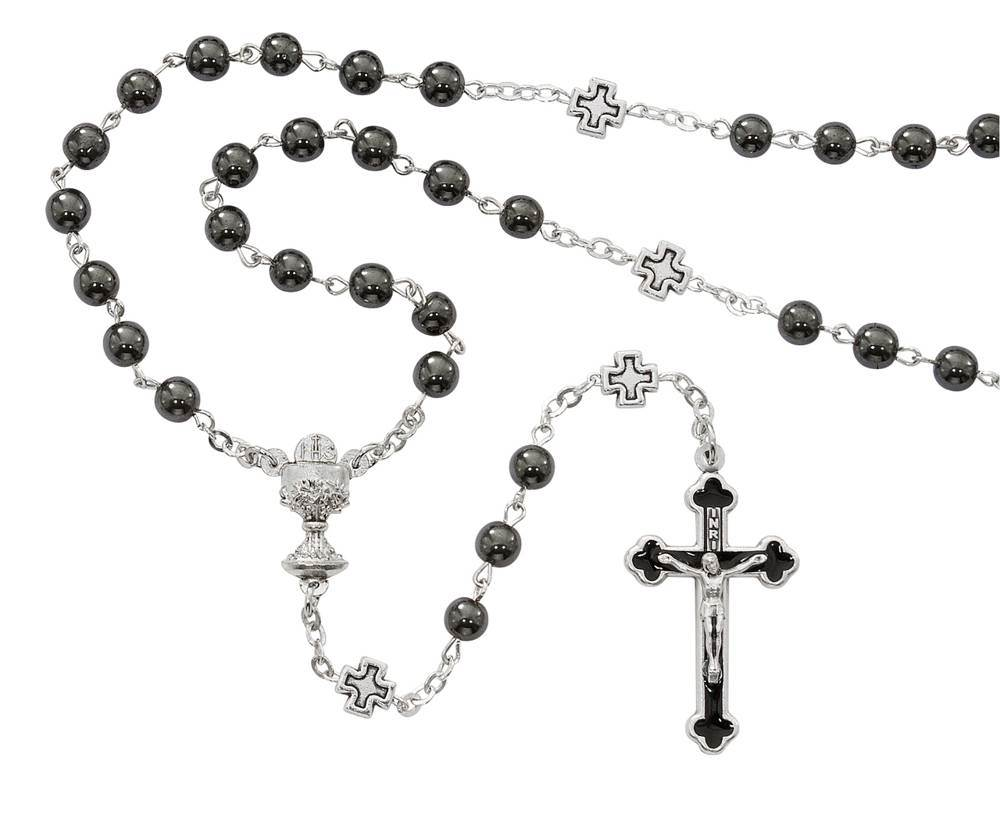 Hematite Bead First Communion Rosary, Black Enameld Crucifix and Cross Our Father Beads