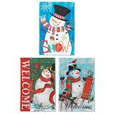 "Holiday Snowman Garden Flag 18"" Polyester (Sold Each, Assorted)"