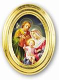 Holy Family 5 1/2 x 7 Oval Gold-Leaf Framed Print
