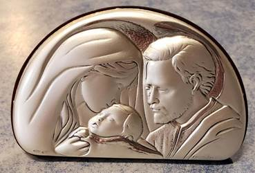 "Holy Family Arched Silver Plated Plaque 3"" X 2"" Made In Italy"