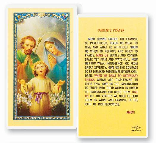 Holy Family Parents Prayer Laminated Prayer Card