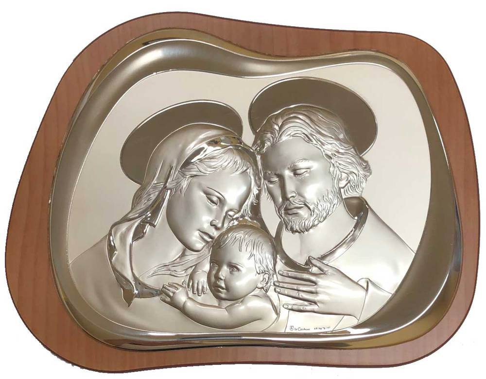 Holy Family Silver/Wood Plaque from Italy