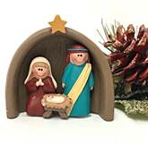 Holy Family with Creche Ornament