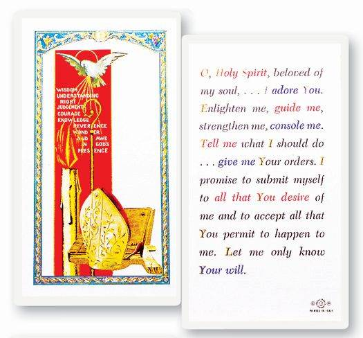 Holy Spirit Confirmation Laminated Prayer Card