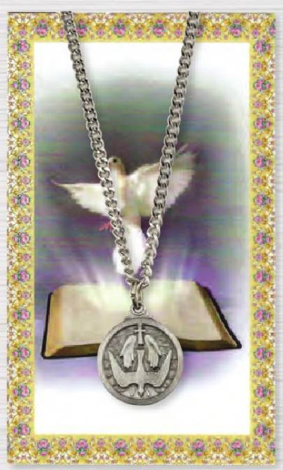 "Holy Spirit Necklace on 18"" Chain includes Holy Card"