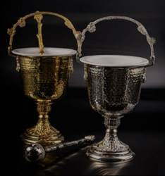 MADE IN GERMANY; Hand Hammered Design ?Holy Water Pot measures 35.5 cm tall x 26.5 cm diameter  Aspergil measures 12.5 cm long??
