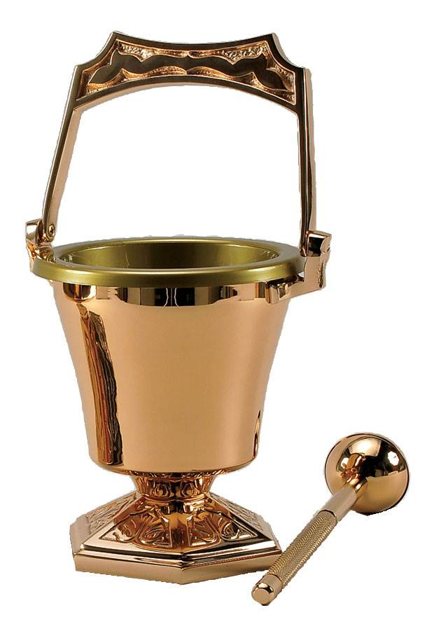99PS42 Holy Water Bucket with Sprinkler Satin Bronze