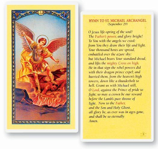 Hymn To St. Michael Archangel Laminated Prayer Card