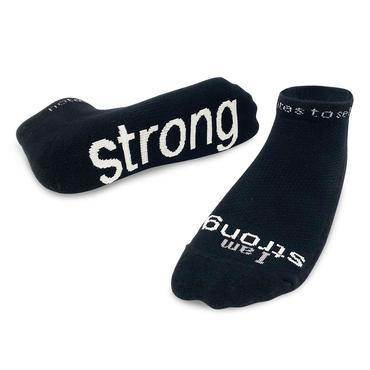 I Am Strong Black Low-cut Socks XL