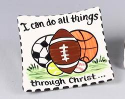 """I Can Do All Things Through Christ"" Ceramic Sports Tray"