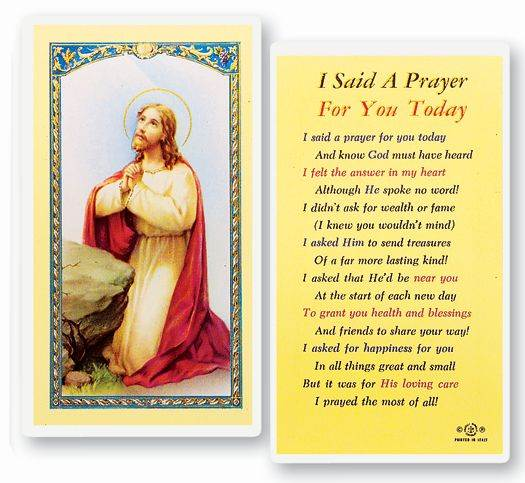 I Said A Prayer For You Today Laminated Prayer Card