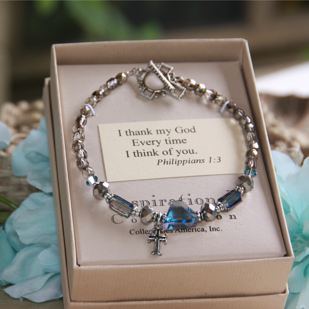 I Thank My God Cross Charm Bracelet