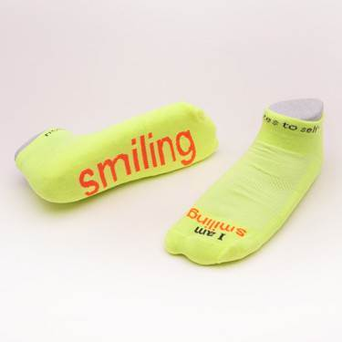 I am smiling Neon Yellow low-cut with Neon Orange Words