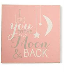 I love you to the Moon and Back Pink Wall Art