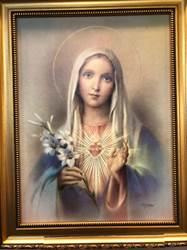 "Immaculate Heart of Mary 12"" x 16"" Walnut Finish Framed Print"