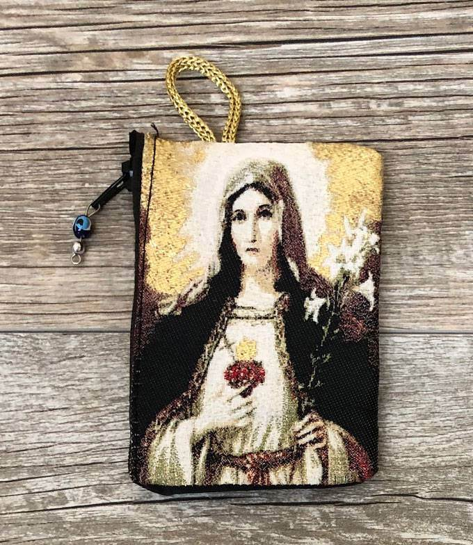 Immaculate Heart of Mary Gold Rosary Pouch from Turkey