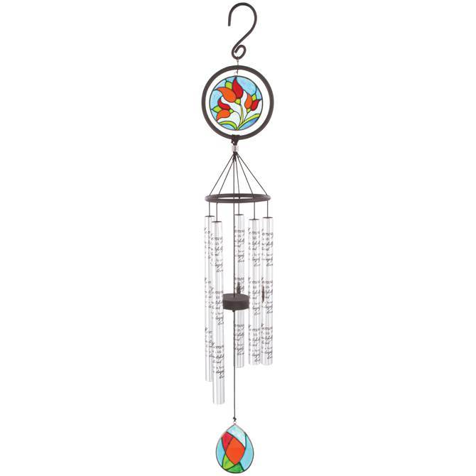 "In Memory 35"" Stained Glass Wind Chime"