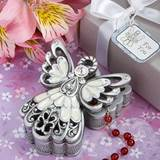 Ivory Enamel Pewter Angel Keepsake Box