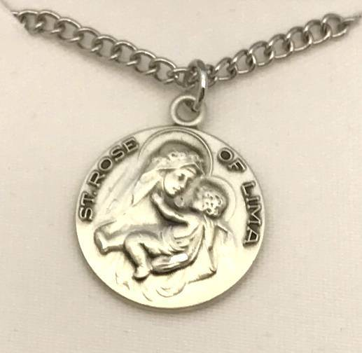 "St. Rose of Lima Sterling Silver 3/4""  Medal on 18"" Chain"