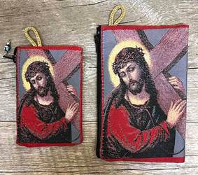 Jesus Carrying the Cross Woven Pouch from Turkey