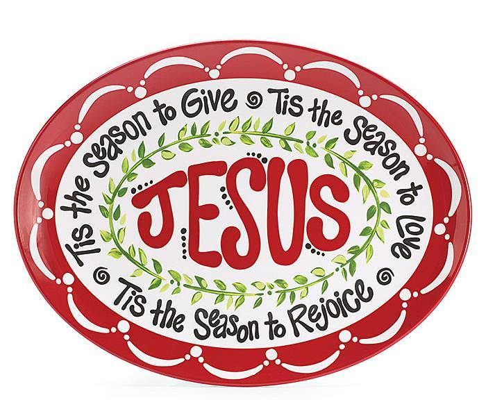 Jesus Is The Reason Christmas Platter *WHILE SUPPLIES LAST* cmas15g, christmas plate, holiday plate, holiday platter, jesus is the reason for the season, xmas plate, christmas kitchenware, xmas kitchenware