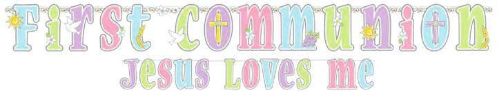Jesus Loves Me Banner 129538,first communion banner, first communion party banner, jesus loves me banner, pastel banner,partyware, paper product, sacramental party supplies, first communion partyware, reconciliation partyware, confirmation partyware,boy partyware, girl partyware
