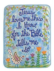 "Jesus Loves Me Fleece Throw Blue 30""x40"""