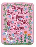 "Jesus Loves Me Fleece Throw Pink 30""x40"""