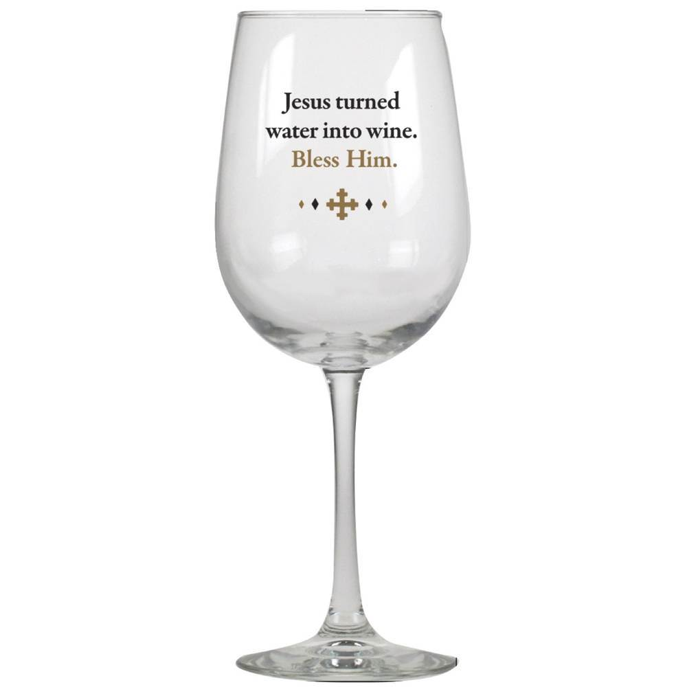 Jesus Turned Water into Wine Wine Glass cmas15d, wine glasses, humor, humorous, great gift, gift, inspirational gift, wine gift, funny gift, funny items, friend present, funny present,