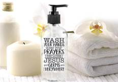 "Wash Your Hands and Say Your Prayers Because Jesus and Germs are Everywhere Glass soap dispenser; 6.25"" tall."
