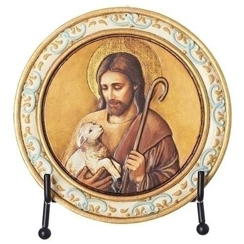 Jesus and Lamb Plaque with Easel