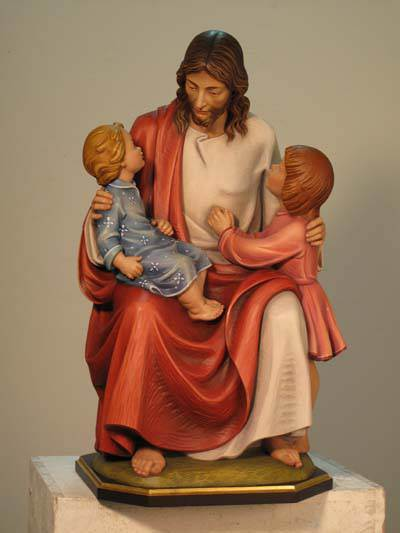 Jesus with Two Children Statue - DM100/42