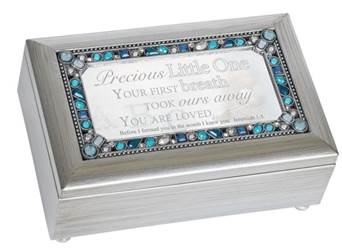 Jeweled Petite Silver Music Box Precious Little One Plays, Jesus Loves Me