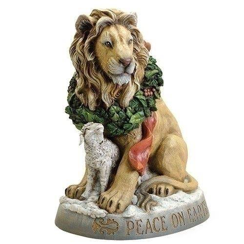 "Joseph Studio ""Peace on Earth"" Lion and Lamb Christmas Statue, 20 inch"