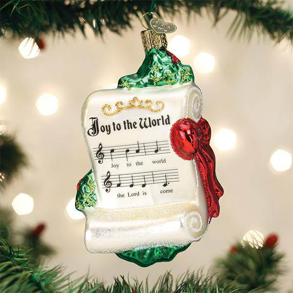 Hand painted ornament from Germany.  Joy to the World Glass Ornament