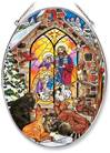 "Joy to the World Nativity 9"" Glass Suncatcher"
