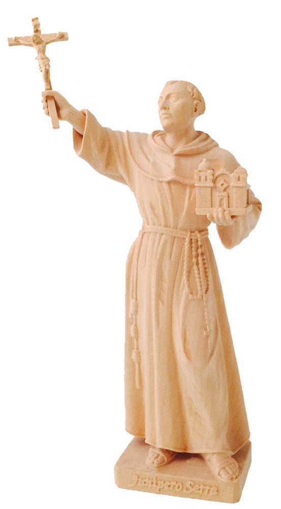 Saint Junipero Serra Natural Wood Carved Statue