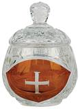 "Ablution Cup. Or for the distribution of ashes. Crystal with engraved cross. 3-3/8""H., 3 oz. cap."