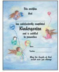 Kindergarten Certificate with Envelope certificate, church goods, sacramental certificates, baptism, first communion, confirmation, marriage, death,200K w/envel
