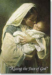 Kissing the Face of God Boxed Cards boxed cards, christmas cards, seasonal cards, holiday cards, greeting cards, madonna and child, kissing the face of christ,C70340