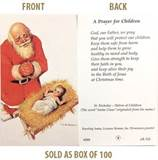 Kneeling Santa A Prayer for Children Paper Prayer Card, Pack of 100