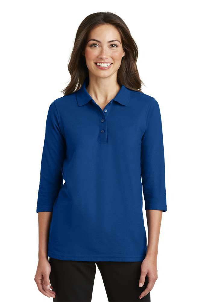 Ladies 3/4 Sleeve Polo, With Embroidered School Logo on Left Chest