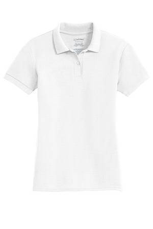 Ladies White Pique Knit Polo Shirt with ND Logo, Short Sleeve *WHILE SUPPLIES LAST*