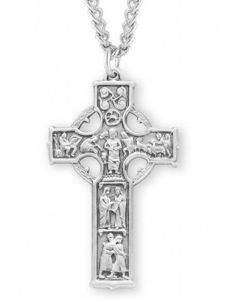 "Large Celtic Cross Sterling Silver on 24"" chain"