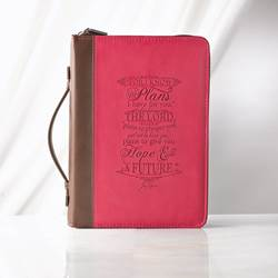 Large I know the Plans Pink Bible Cover