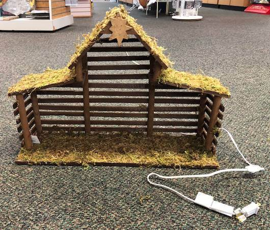 Large Lighted Nativity Stable, Wood/Moss